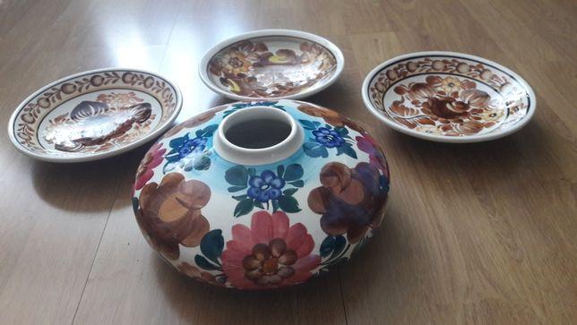Koło Włocławek fajans wazon i miski talerze ścienne PRL