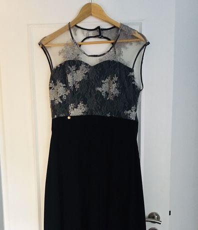 Vestido preto e prateado