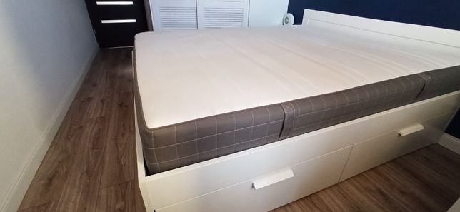 BRIMNES ŁÓŻKO z szufladami, biały/Luröy160x200 cm