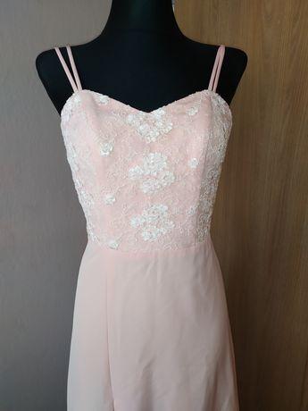 Sukienka maxi pudrowy róż XS S gorsetowa wesele wycięcie jak Lou