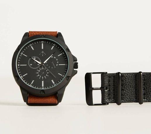 NOWY Zegarek z wymiennym paskiem czarny i brązowy sportowa elegancja