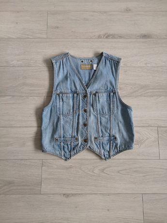 Kamizelka jeans katana S M vintage oldschool retro