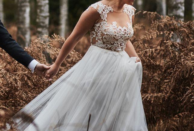 Suknia ślubna MADONNA Telimena koronka tiul rozmiar 38
