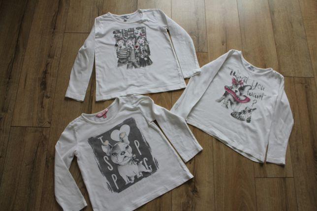 Biała bluzka pies 116 OVS , biała bluzka dziewczynki 122 OVS - całość
