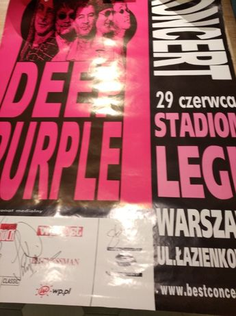 Oryginalny plakat z koncertu Deep Purple z autografami całego zespołu!