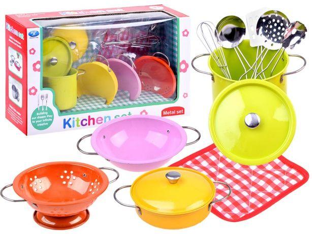 Kolorowe Garnki metalowe zabawa w kucharza