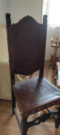Cadeiras Antigas Madeira Couro