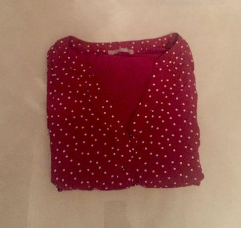 Bordowa bluzka w groszki