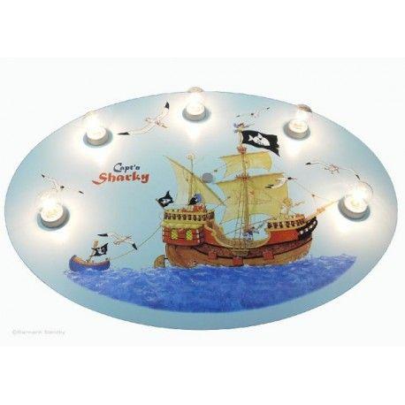 Lampa, plafon dziecięcy do pokoju małego marynarza dużo swiatla
