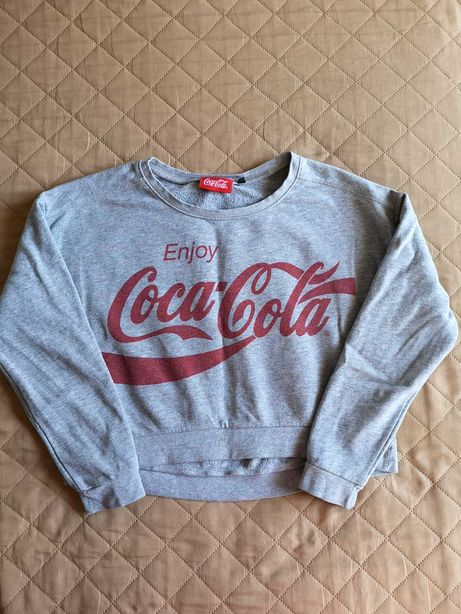 Bluza crop top krótka Coca-Cola szara super print vintage 12 13 lat S