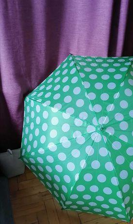 Parasolka duża zielona w białe grochy