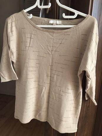 Sweter sweterek bluzka House beżowa ze złotymi nićmi