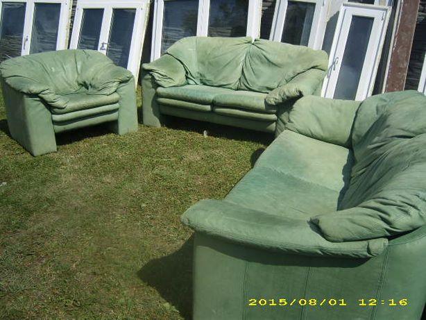 Wypoczynek skorzany 3-2-1 jasna zielen