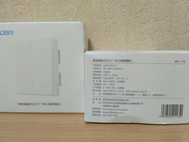 Выключатель двухклавишный фазный Xiaomi Aqara D1 (без ноля)