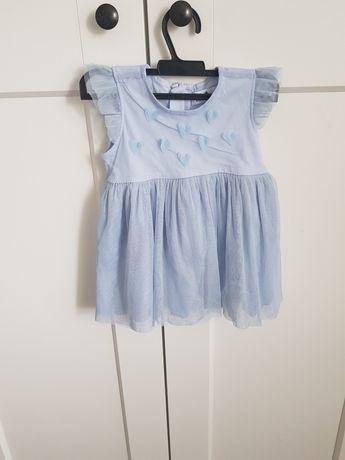 Sukienka z tiulu r. 80 niebieskia 5 10 15