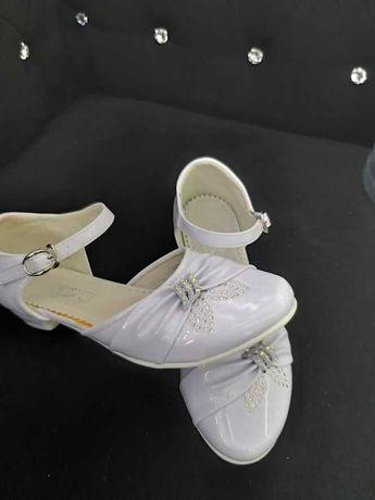 Buty białe obcas 35 komunia baleriny eleganckie