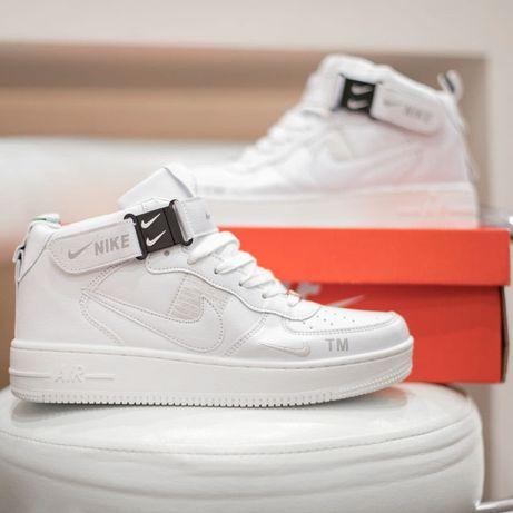6118 Nike Air Force 1 Mid белые кроссовки найк аир форс высокие ботинк
