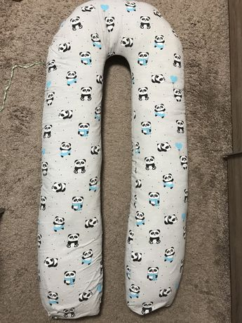 Подушка для беременных U Комфорт, серая с пандами