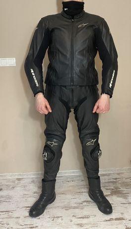 ALPINESTARS strój kurtka + spodnie SKÓRA na motor komplet motocyklowy