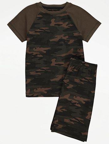 98 104 GEORGE komplet moro chłopięcy koszulka spodenki szorty tshirt