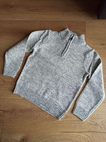 Ciepły NOWY sweter chłopięcy rozpinany 116 szary C&A