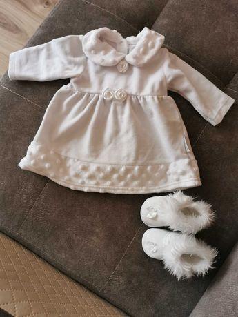 Zimowe ubranko do chrztu dla dziewczynki i płaszczyk rozm 62