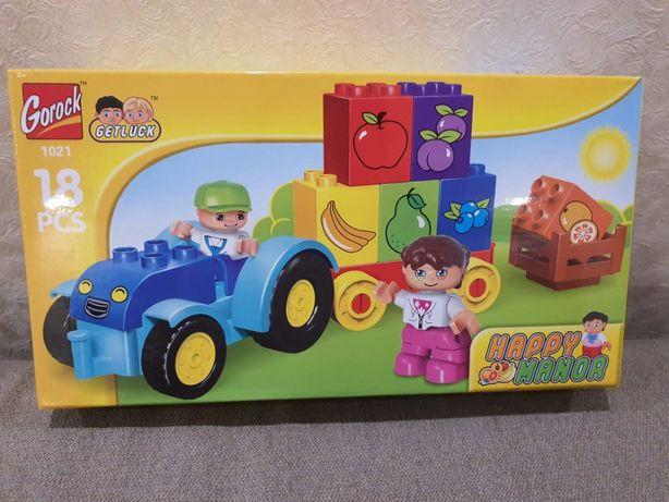 Конструктор Gorock 1021 Мой первый трактор, аналог Lego Duplo