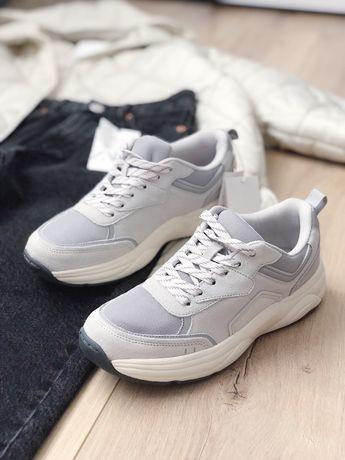Серые кожанные кросовки Zara
