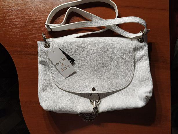 Белая кожаная сумка borse in pelle