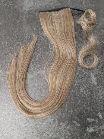 Kucyk doczepiany 60cm blond brąz nowy sztuczne włosy doczepy