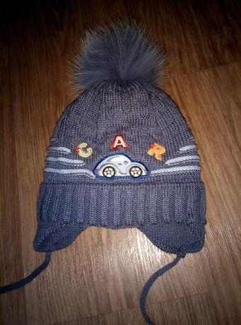 Зимняя шапка для мальчика 1-2 года