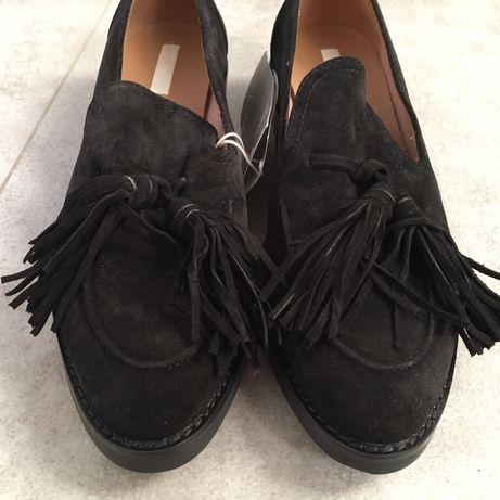 Nowe Mokasyny H&M 38 Czarne Zamszowe Skóra naturalna z frędzlami