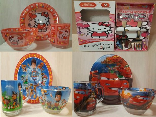 Детские наборы посуды (Hello Kitty,Тачки 2,Щенячий Патруль)