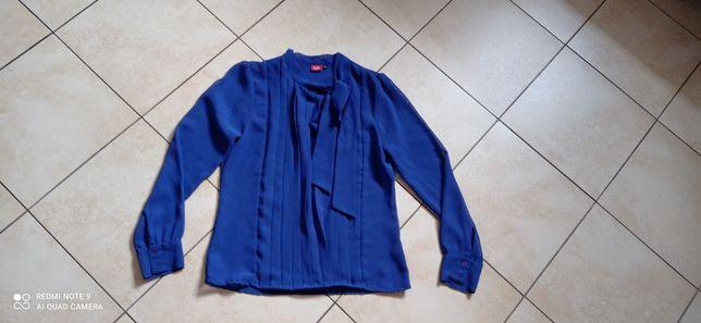 Kobaltowa bluzka z kokardą r. M stan idealny założona raz