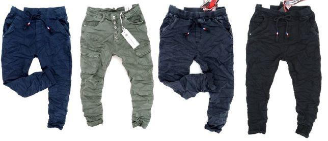 Włoskie dresowe jeansy damskie BAGGY boyfriend bojówki XS S M L XL