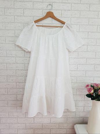 Biała ażurowa sukienka roz 48 4XL Asos haft