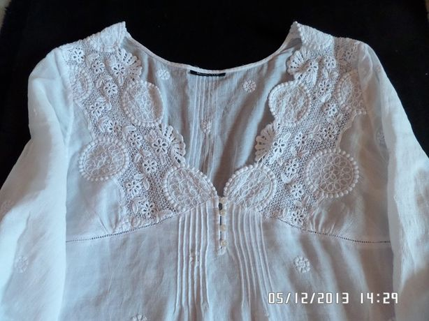Massimo Dutti biała haftowana z koronką bluzka m
