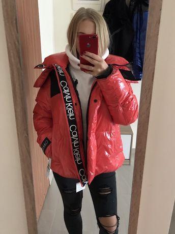 Kurtka zimowa Calvin Klein r. L kurtka puchowa lateksowa błyszcząca