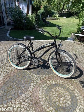 Rower miejski cruiser wyjątkowy czerny z miętowymi wstawkami
