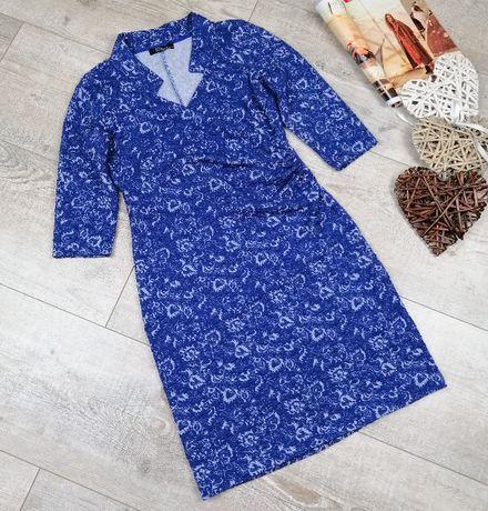 Peruggi_drapowana niebieska sukienka_rozmiar 38