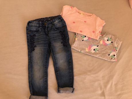 Spodnie jeansowe + 2 bluzy r. 98/104 Palomino, H&M
