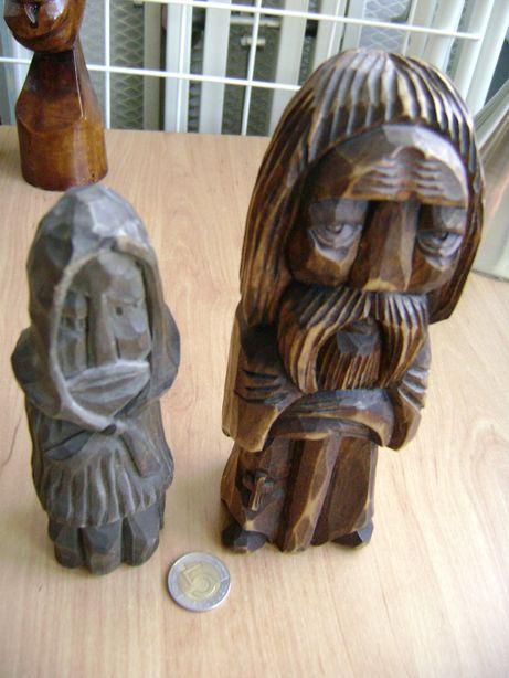 Starocie z PRL - Drewno = Figurki polskie 2 sztuki