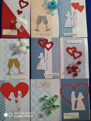 kartka ślubna raęcznie robiona- zestaw 20 sztuk. (wyprzedaż)