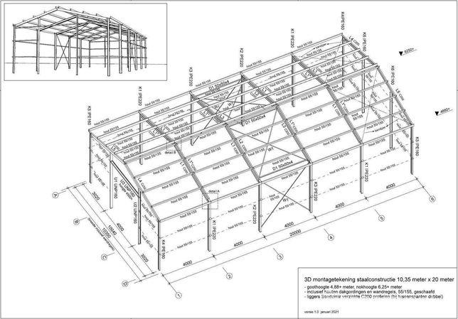 Hala magazynowa 200 m2 - szkielet, konstrukcja