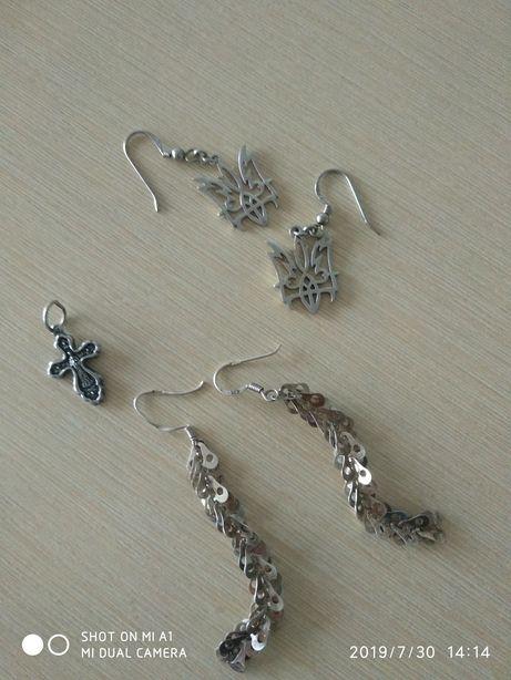 Серьги, крестик, серебро 925