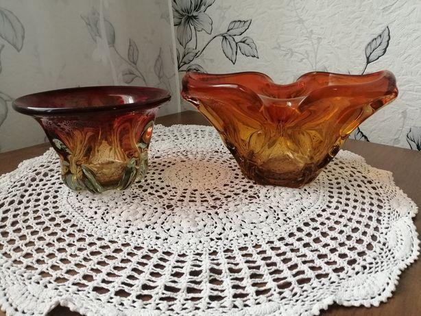 Две конфетници из цветного гутного стекла