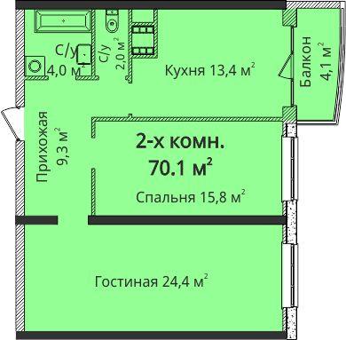 """2 комн. ЖК""""4 Сезона"""", Гагарина. Эксклюзив! С видом на зеленую зону!"""