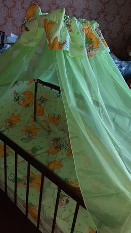 Матрас в детскую кроватку, бортики, балдахин