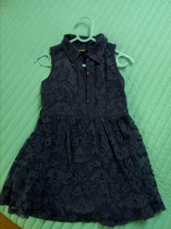 Sukienka koronkowa George granatowa 104 110 kołnierzyk koronka