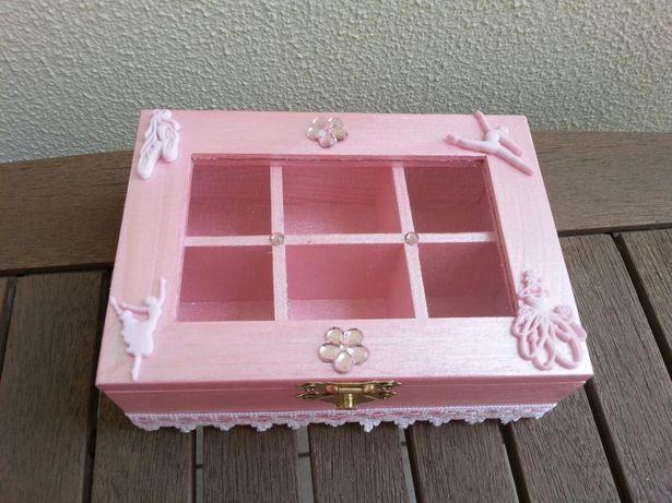 Caixa em madeira rosa, tema ballet, nova